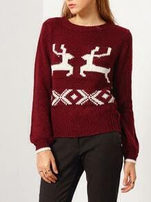 Red Long Sleeve Deer Print Sweater