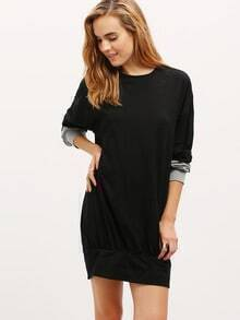 Black Long Sleeve Color Block Dress