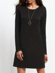 Black Long Sleeve Round Neck Dress