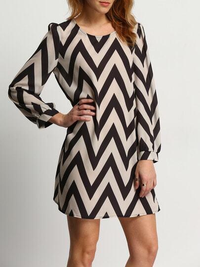 Apricot Black Long Sleeve Geometric Print Dress pictures