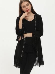 Black Long Sleeve Tassel Kimono