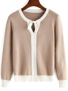 Apricot Tie-neck Long Sleeve Crop Knitwear