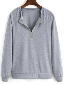 Grey Long Sleeve Zipper Loose Sweatshirt