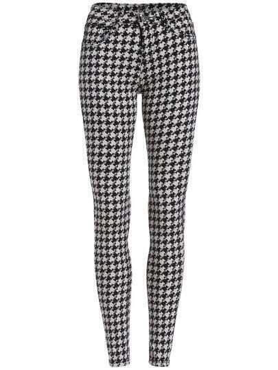 Black White Slim Houndstooth Pencil Pant