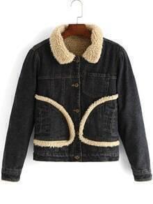 Black Lapel Long Sleeve Pockets Crop Coat