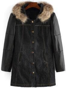 Black Faux Fur Hooded Pockets Loose Coat