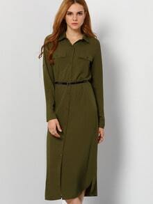 Army Green Lapel Buttons Pockcts Slit Shirt Dress