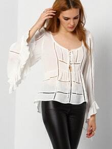 White Bell Sleeve Hollow Lace Up Blouse