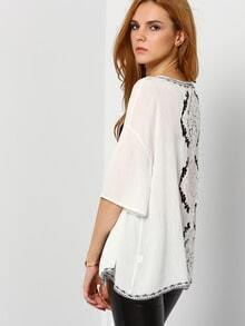 White Elbow Sleeve Lace Crochet Hollow Top