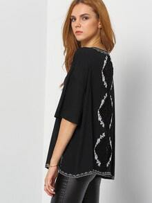 Black Elbow Sleeve Lace Crochet Hollow Top