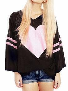 Black V Neck Heart Shape Print Loose Tshirt