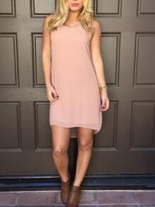 Women Pink Sleeveless Pleated Back Dip Hem Dress