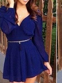 Blue V Neck Backless Belted Flare Dress