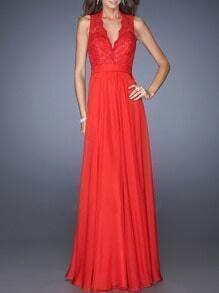 Orange Lace Top V Neck Backless Maxi Dress