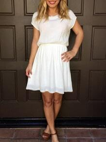 Women White Chiffon Keyhole Bow Back Dress
