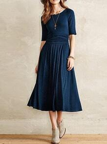 Navy Blue Scoop Neck Pleated Midi Dress