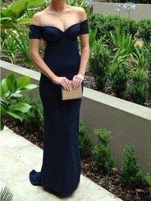 Navy Blue Off The Shoulder Sweetheart Maxi Dress