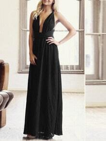 Black Plunge Criss Cross Convertible Maxi Dress