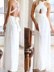 White Plunge Criss Cross Convertible Maxi Dress
