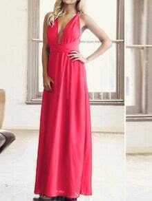 Hot Pink Plunge Criss Cross Convertible Maxi Dress