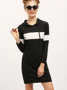Women Color Block Hooded Sweatshirt Dress