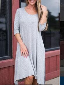 Women Grey Scoop Neck Asymmetrical Hem Dress