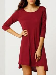Women Burgundy Scoop Neck Asymmetrical Hem Dress