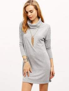 Women Grey Cowl Neck Dropped Shoulder Tshirt Dress