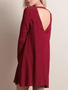 Burgundy Eyelet Detail Cut Out Back Shift Dress