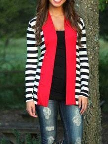 Women Striped Coat With Contrast Red Placket
