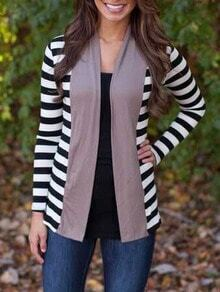 Women Striped Coat With Contrast Coffee Placket