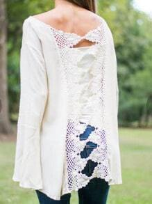 White Bell Sleeve Lace Back Loose T-Shirt