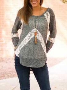 Grey Round Neck Lace Dip Hem T-Shirt