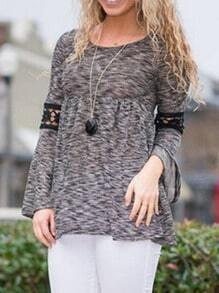 Grey Round Neck Long Sleeve Lace T-Shirt