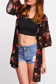 Colour Half Sleeve Floral Chiffon Kimono