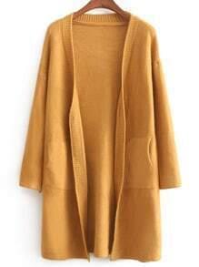 Yellow Long Sleeve Pockets Sweater Coat