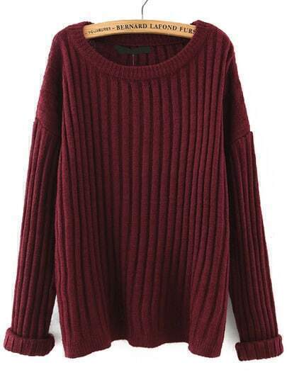 Burgundy Round Neck Vertical Stripe Loose Sweater