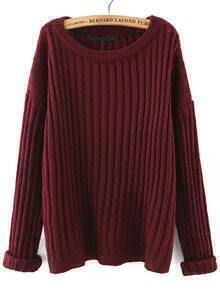 Burgundy Round Neck Vertical Stripe Loose Sweater