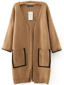 Khaki Pockets Loose Sweater Coat