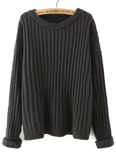 Grey Round Neck Vertical Stripe Loose Sweater