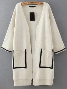 White Pockets Loose Sweater Coat