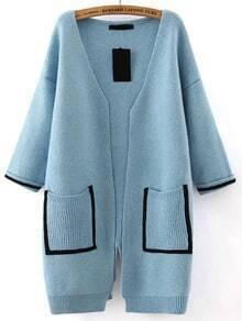 Blue Pockets Loose Sweater Coat