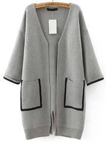 Grey Pockets Loose Sweater Coat