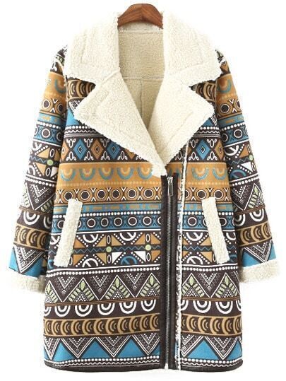 Colour Lapel Zipper Geometric Print Coat