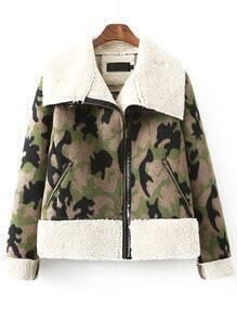 Colour Lapel Zipper Camouflage Coat