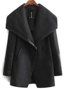 Black Lapel Zipper Cuff Loose Coat