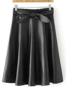 Black Elastic Waist Bow PU Skirt