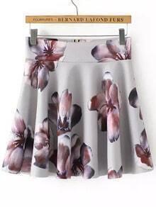 Grey Zipper Floral Skirt