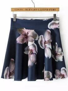 Navy Zipper Floral Skirt