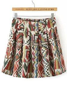 Colour Geometric Print Elastic Waist Skirt